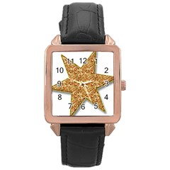 Star Glitter Rose Gold Leather Watch