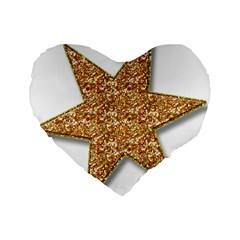 Star Glitter Standard 16  Premium Flano Heart Shape Cushions by Nexatart