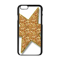 Star Glitter Apple Iphone 6/6s Black Enamel Case by Nexatart