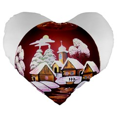Christmas Decor Christmas Ornaments Large 19  Premium Heart Shape Cushions by Nexatart