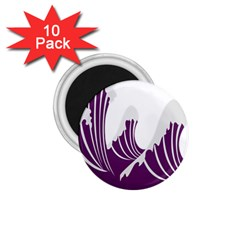 Waves Purple Wave Water Chevron Sea Beach 1 75  Magnets (10 Pack)  by Mariart