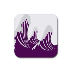 Waves Purple Wave Water Chevron Sea Beach Rubber Square Coaster (4 Pack)  by Mariart
