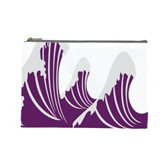 Waves Purple Wave Water Chevron Sea Beach Cosmetic Bag (large)  by Mariart