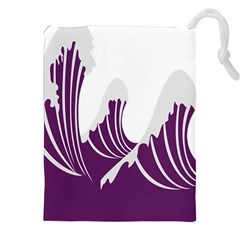 Waves Purple Wave Water Chevron Sea Beach Drawstring Pouches (xxl) by Mariart