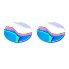 Aurora Color Rainbow Space Blue Sky Purple Yellow Green Cufflinks (oval) by Mariart