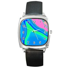 Aurora Color Rainbow Space Blue Sky Square Metal Watch by Mariart