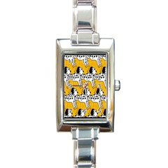Animals Cat Dog Dalmation Rectangle Italian Charm Watch by Mariart