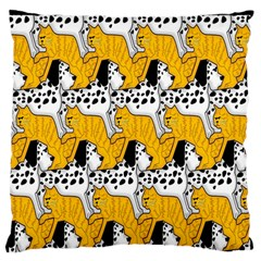 Animals Cat Dog Dalmation Large Flano Cushion Case (two Sides) by Mariart