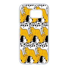 Animals Cat Dog Dalmation Samsung Galaxy S7 Edge White Seamless Case by Mariart