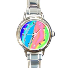 Aurora Color Rainbow Space Blue Sky Purple Yellow Green Pink Round Italian Charm Watch by Mariart