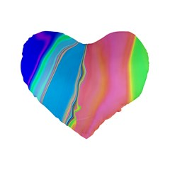 Aurora Color Rainbow Space Blue Sky Purple Yellow Green Pink Standard 16  Premium Flano Heart Shape Cushions by Mariart