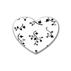 Black Leaf Tatto Rubber Coaster (heart)  by Mariart