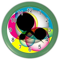 Apollonius Color Multi Circle Polkadot Color Wall Clocks by Mariart