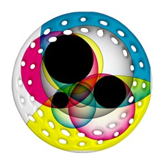 Apollonius Color Multi Circle Polkadot Round Filigree Ornament (two Sides) by Mariart
