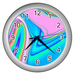 Aurora Color Rainbow Space Blue Sky Purple Yellow Green Pink Red Wall Clocks (silver)  by Mariart