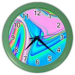 Aurora Color Rainbow Space Blue Sky Purple Yellow Green Pink Red Color Wall Clocks by Mariart
