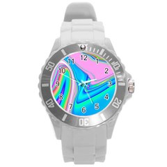 Aurora Color Rainbow Space Blue Sky Purple Yellow Green Pink Red Round Plastic Sport Watch (l) by Mariart