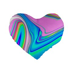 Aurora Color Rainbow Space Blue Sky Purple Yellow Green Pink Red Standard 16  Premium Flano Heart Shape Cushions by Mariart