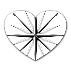 Compase Star Rose Black White Heart Mousepads by Mariart