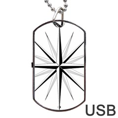 Compase Star Rose Black White Dog Tag Usb Flash (two Sides) by Mariart