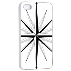 Compase Star Rose Black White Apple Iphone 4/4s Seamless Case (white) by Mariart