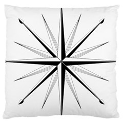 Compase Star Rose Black White Large Cushion Case (two Sides) by Mariart