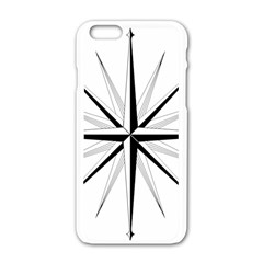 Compase Star Rose Black White Apple Iphone 6/6s White Enamel Case by Mariart