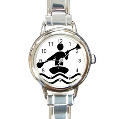 Cropped Kayak Graphic Race Paddle Black Water Sea Wave Beach Round Italian Charm Watch by Mariart