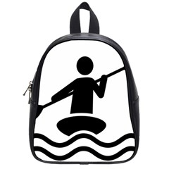 Cropped Kayak Graphic Race Paddle Black Water Sea Wave Beach School Bags (small)  by Mariart