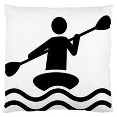 Cropped Kayak Graphic Race Paddle Black Water Sea Wave Beach Large Cushion Case (two Sides) by Mariart