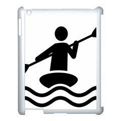 Cropped Kayak Graphic Race Paddle Black Water Sea Wave Beach Apple Ipad 3/4 Case (white) by Mariart