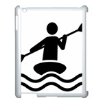 Cropped Kayak Graphic Race Paddle Black Water Sea Wave Beach Apple iPad 3/4 Case (White) Front