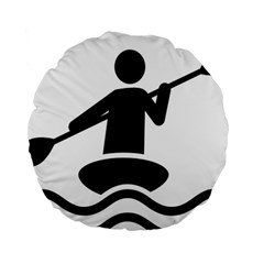 Cropped Kayak Graphic Race Paddle Black Water Sea Wave Beach Standard 15  Premium Round Cushions by Mariart