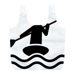 Cropped Kayak Graphic Race Paddle Black Water Sea Wave Beach Full Print Recycle Bags (l)  by Mariart