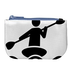 Cropped Kayak Graphic Race Paddle Black Water Sea Wave Beach Large Coin Purse by Mariart