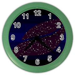 Contigender Flags Star Polka Space Blue Sky Black Brown Color Wall Clocks by Mariart