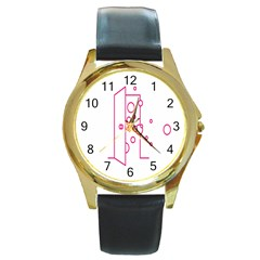 Deep Clean Bubbel Door Pink Polka Circle Round Gold Metal Watch by Mariart