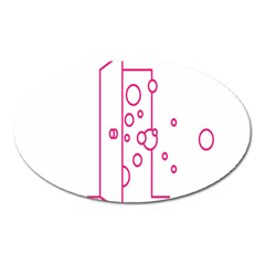 Deep Clean Bubbel Door Pink Polka Circle Oval Magnet by Mariart