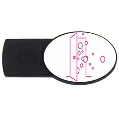 Deep Clean Bubbel Door Pink Polka Circle Usb Flash Drive Oval (4 Gb) by Mariart