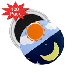 Day Night Moon Stars Cloud Stars 2 25  Magnets (100 Pack)  by Mariart