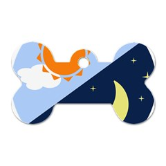 Day Night Moon Stars Cloud Stars Dog Tag Bone (two Sides) by Mariart