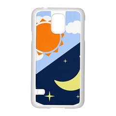 Day Night Moon Stars Cloud Stars Samsung Galaxy S5 Case (white) by Mariart
