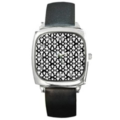 Dark Horse Playing Card Black White Square Metal Watch by Mariart