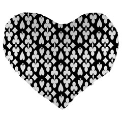 Dark Horse Playing Card Black White Large 19  Premium Flano Heart Shape Cushions by Mariart