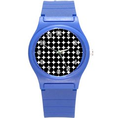 Dotted Pattern Png Dots Square Grid Abuse Black Round Plastic Sport Watch (s) by Mariart