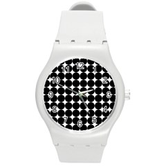 Dotted Pattern Png Dots Square Grid Abuse Black Round Plastic Sport Watch (m) by Mariart