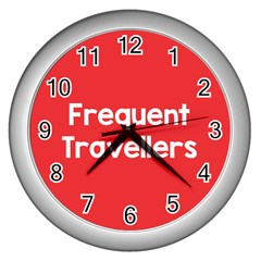 Frequent Travellers Red Wall Clocks (silver)  by Mariart