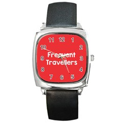 Frequent Travellers Red Square Metal Watch by Mariart