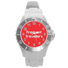 Frequent Travellers Red Round Plastic Sport Watch (l)