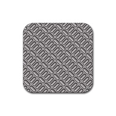 Capsul Another Grey Diamond Metal Texture Rubber Square Coaster (4 Pack)